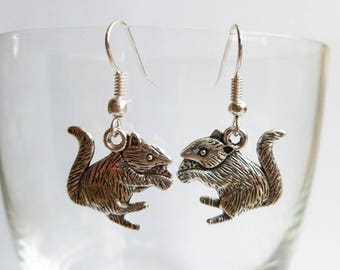 Squirrel Rodent Earrings Tibetan Silver Charms Fancy Rat Mouse Jewellery