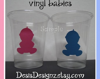 24 Gender reveal Baby vinyl decals 12 oz. 16 oz or 20 oz. clear party cups Baby shower decorations girl boy sprinkle party vinyl cup