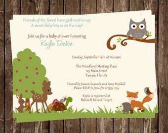 Woodland Baby Shower Invitations, Forest Friends, Woodland Animals, Owl Invites, Owl Baby Shower, 10 Printed Invites, FREE Shipping