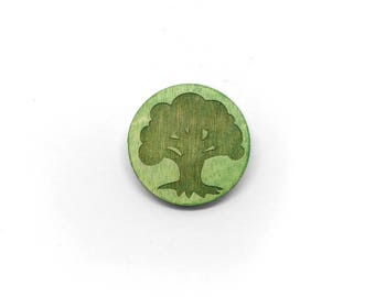 Magic the Gathering Forest Laser Etched Wood Pin