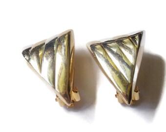 Vintage Upside down Triangle Clip on Earrings