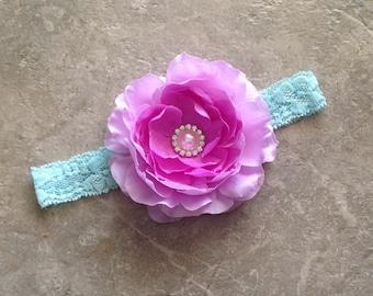 Aqua lavender headband, Baby Hair Bow, flower headband,  shabby chic roses, baby girl headband, hair bows- BL992