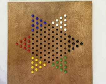 """18"""", Chinese Checkers, Game Board, Glass Marbles, Game Boards, Wood, Wooden, Marble Game, Board Game, Family Fun"""