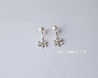 Argentium Silver Flower Pearl Earrings, cute gift for girlfriend, present for Mom, holiday gift, secret Santa gift, Christmas gift for her