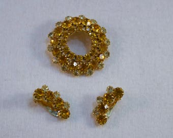 Juliana Yellow Rhinestone Circle Brooch and Matching Clip Earrings