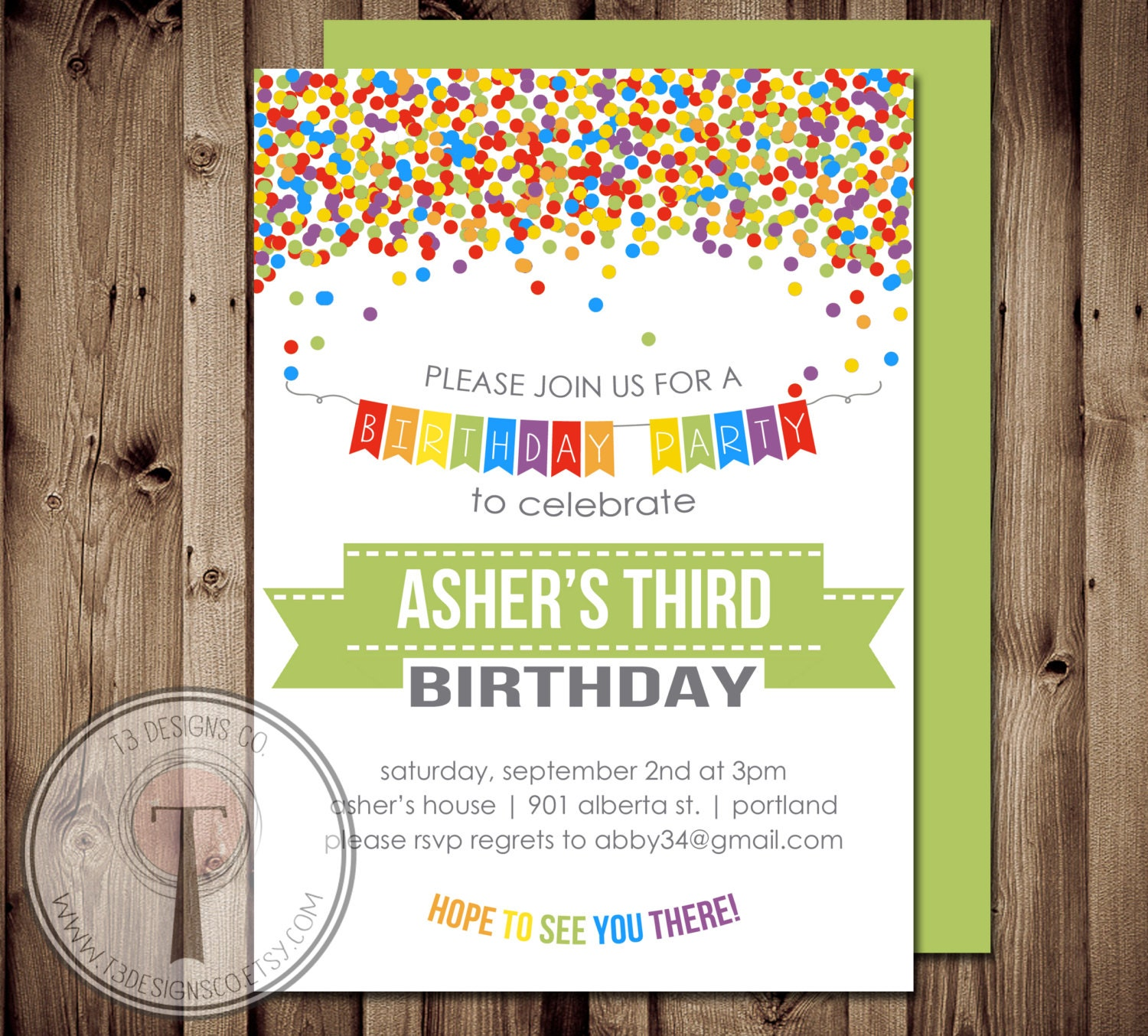 Rainbow Confetti birthday invitation, boys birthday invitation ...