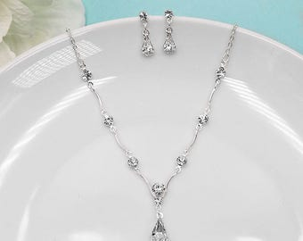 Rhinestone Jewelry Set, Crystal Wedding Necklace Set, bridal jewelry set, wedding jewelry set, bridesmaid jewelry set, Kara Jewelry Set