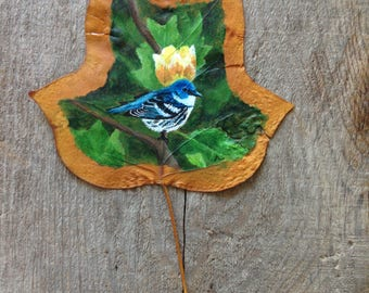 Cerulean Warbler | Canadian Art | Leaf Art | Leaf Painting | Tulip Leaf | Framed Painting |