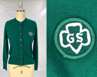 Vintage 1950s Girl Scout Sweater // Early 50s Green Cardigan // Americana // Retro Collectors  // Wes Anderson Costume // Scouts Honor