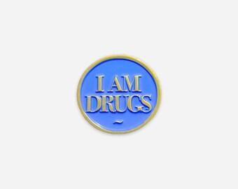 I Am Drugs Soft Enamel Lapel Pin - Salvador Dali Inspired