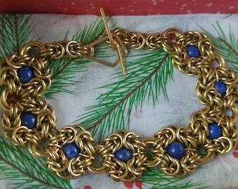 Byzantine Romanov Chainmaille Bracelet with Lapis Lazuli