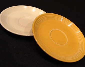 "Vintage 2 Homer Laughlin Fiesta Plates <><>  1 Yellow Saucer & 1 Cream Saucer <> 6"" Diameter <> 1960's <> GREAT CONDITION"