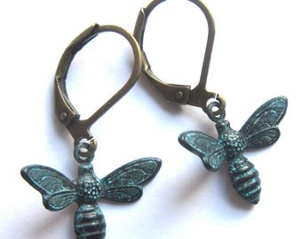 Flying Bee Earrings Verdigris Patina Metal Dangle Fashion Jewellery