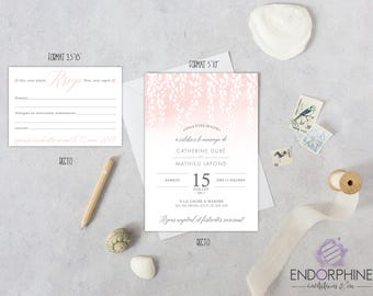Invitation, printable wedding invitation. Invitation + RSVP card