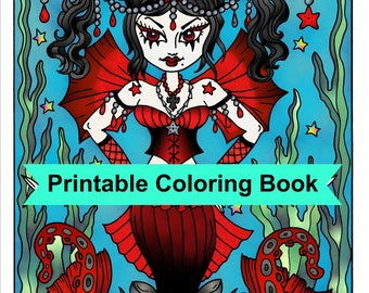 Instant Download Gothic Mermaids Coloring Book for all ages Adult color, Digi, digital download, printables, gothic