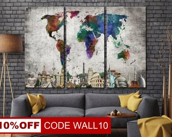 World, Map, World Map Wall Art, Map Canvas, Map Wall Art, World Map, Colorful Map Canvas, World Map Art, Colorful World Map, Color World Map