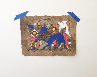 Vintage Mexican Bark Art- Deer & Bird Painting