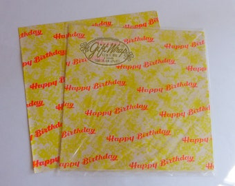 1960s MOD Neon Dayglo Florescent Happy Birthday Gift Wrap Wrapping Paper
