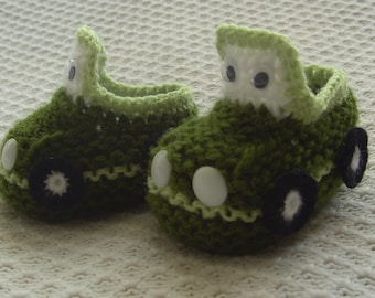 Hand-knitted Car Socks  Booties (3-6 and 6-9 Months)
