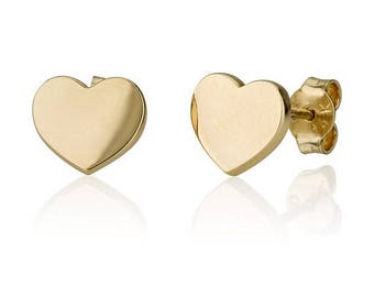 SOLID 14K GOLD Classic Heart Earrings