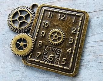 "Clock Pendant Gear Charm Clock Charm Steampunk Clock with Gears Pendant Time Pendant Clock Face Antiqued Bronze 50mm/2"" 1 pc"