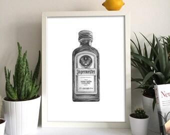 Jagermeister Print Jagermeister Wall Art Jagermeister Bottle Alcohol Art Alcohol Bottle Print Bottle Art Jagermeister Gift