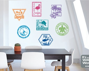 Tropical Travel Vinyl Wall Decals -St& Decals  sc 1 st  Etsy & Tropical wall decal | Etsy