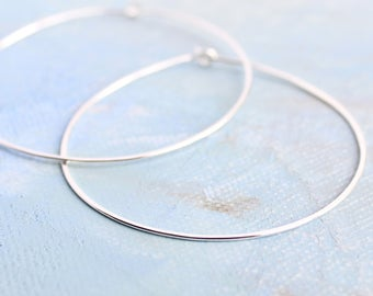 "Silver Hoop Earrings, Large Sterling Silver Hoops 2"" thin hoop earrings, hoop earrings, silver hoop earings, silver earrings"