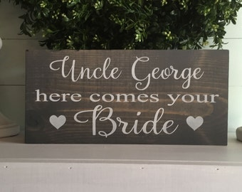 Here comes the Bride sign - Flower girl sign - ring bearer sign - Here comes your bride sign - Rustic wedding sign -  Wood wedding sign