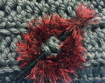 Shawl Pin  Shawl Stick - Red and Black