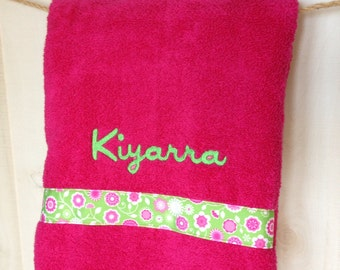 Kids Embroidered Bath Towel Personalized Embroidered Ribbon Bath Towel