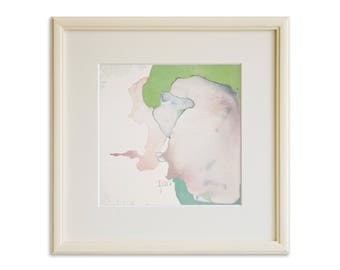 Framed Watercolor, Original Small Abstract Painting, Modern Minimalist Art, Watercolor Abstract Fine Art, Ready to Hang