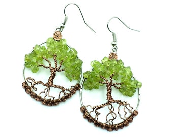 Peridot Tree of Life Earrings Custom Made To Order  USA  Please Read Entire Description Before Making Purchase