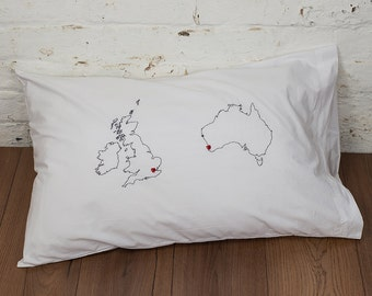Long distance relationship - Personalised map pillowcase - Moving away gift - Ldr gift - Valentine's Day - Long distance boyfriend