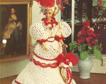 Victorian Costume Gown, Crochet Pattern, Annies Fashion Doll, Doll Dress, Vintage 1996, Leaflet FCC14-01, Sewing Pattern, Sewing Supplies