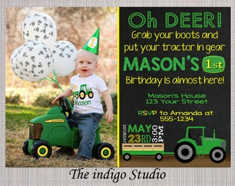 Tractor Birthday Party with or without Photo Invitation Matching chalkboard, Thank you and Milestone  - Invite Card  Personalized you Print