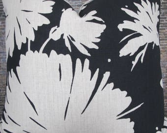 Designer Pillow Cover - 16 x 16, 18 x 18, 20 x 20, 22 x 22, 24 x 24 - KS Kravet Daisyfield - Black