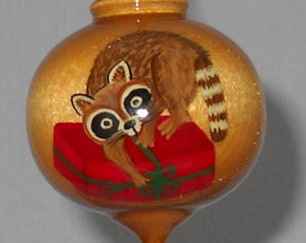 Personalized Raccoon Ornament, Hand Painted Wooden Christmas Ornament, PWB-51