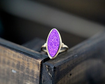 Druzy Cocktail Statement Ring ,  Purple Gemstone Marquis In Gold , Rose Gold , Sterling Silver , Boho Style - Mulberry