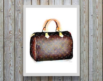 Fashion Watercolor wall art, Brown, bag, Painting, fashion Bag, fashion print, Fashion illustration, wall art, fashion poster, art, gift for