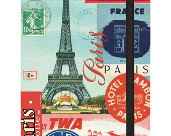 Eiffel Tower Paris Collage 4 by 6-Inch Notebook, Small