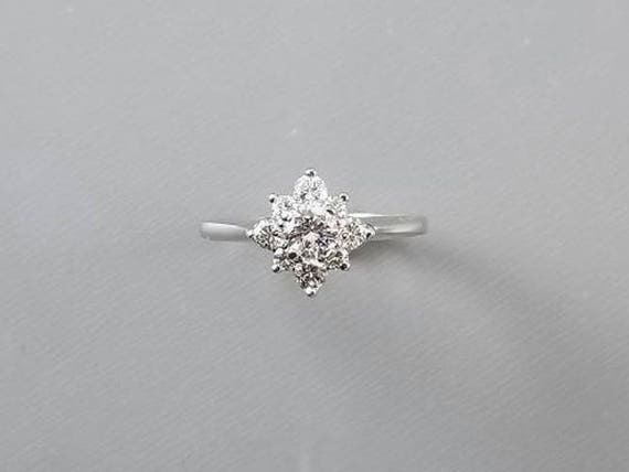 Vintage 14k white gold .56 carat diamond cluster engagement wedding bridal halo ring, size 6-1/4