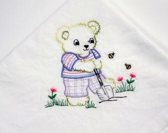 Flour Sack Towel - Vintage Animal Bear Gardening