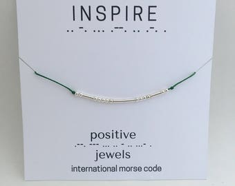 Inspire Morse Code Bracelet, Friendship bracelet, personalized-Sterling Silver