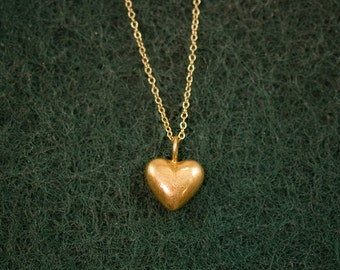 Tiny Gold Charm Heart Necklace - Love Necklace - Gold Necklace - Gift for her - Bridesmaid Jewelry