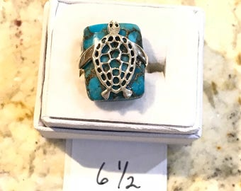 Turquoise Turtle Ring, Size 6 1/2