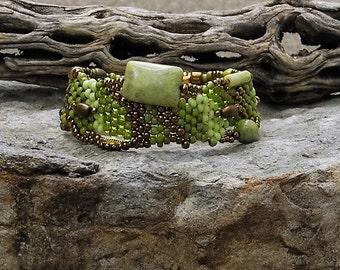 Jewelry - Free Form Peyote Stitch Beaded Bracelet  - Bead Weaving - Green Turquoise -  BOHO