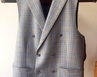 One of a Kind Double Breasted Light Grey Vest with Peak Lapel