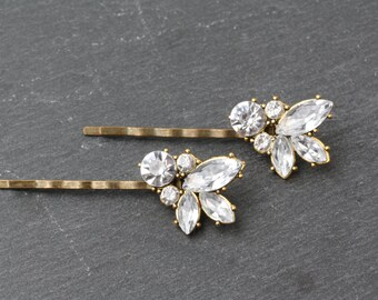 Crystal hair pins, Rhinestone hair pins, wedding hair pins, vintage  crystal hair pins, crystal hair accessories, wedding hair accessories