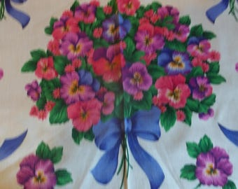 Pansies and Bows 1/2 yard Applique Panel